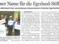 Umbenennung in Felicitas und Werner Egerland Stiftung